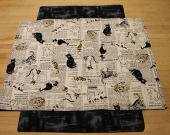 Cat Placemat, Feeding Station Mat, Placemat, Newspaper Placemat, Cotton Placemat, Stocking Stuffer