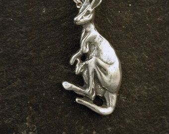 Sterling Silver  Kangaroo Pendant on a Sterling Silver Chain