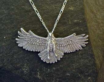 Sterling Silver Large Hawk Pendant with a Sterling Silver Chain