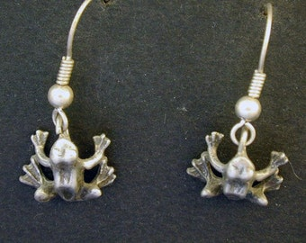 Sterling Silver Frog Earrings on Sterling Silver French Wires