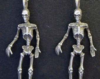 Sterling Silver Skeleton Earrings on Heavy Sterling Silver French Wires