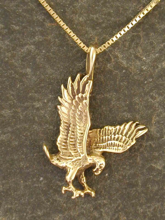 14k gold eagle pendant on a 14k gold chain etsy image 0 aloadofball Gallery