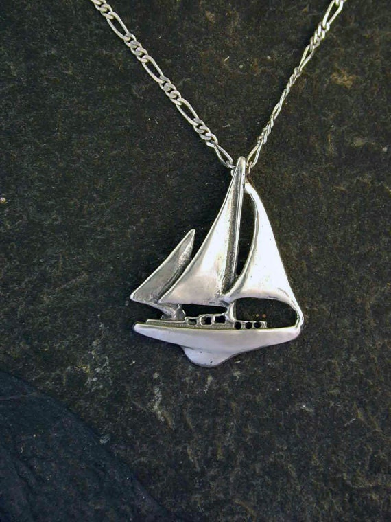 Sterling Silver Ketch Sailboat Pendant On A Sterling