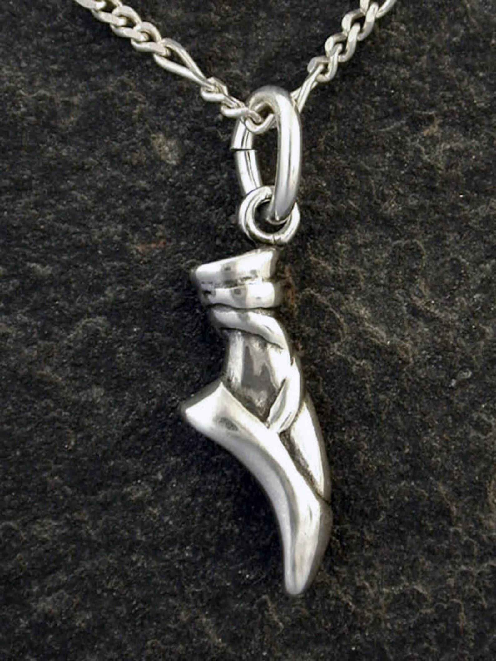 sterling silver ballet slipper shoe pendant on sterling silver chain.