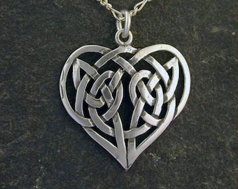Sterling Silver Celtic Heart Pendant on a Sterling Silver Chain