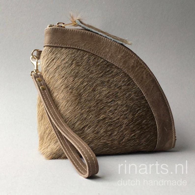 2eb19fc2d9 Donna: accessori Portafoglio di Pelle con cerniera pochette in pelle fatto  a mano con motivi per ...