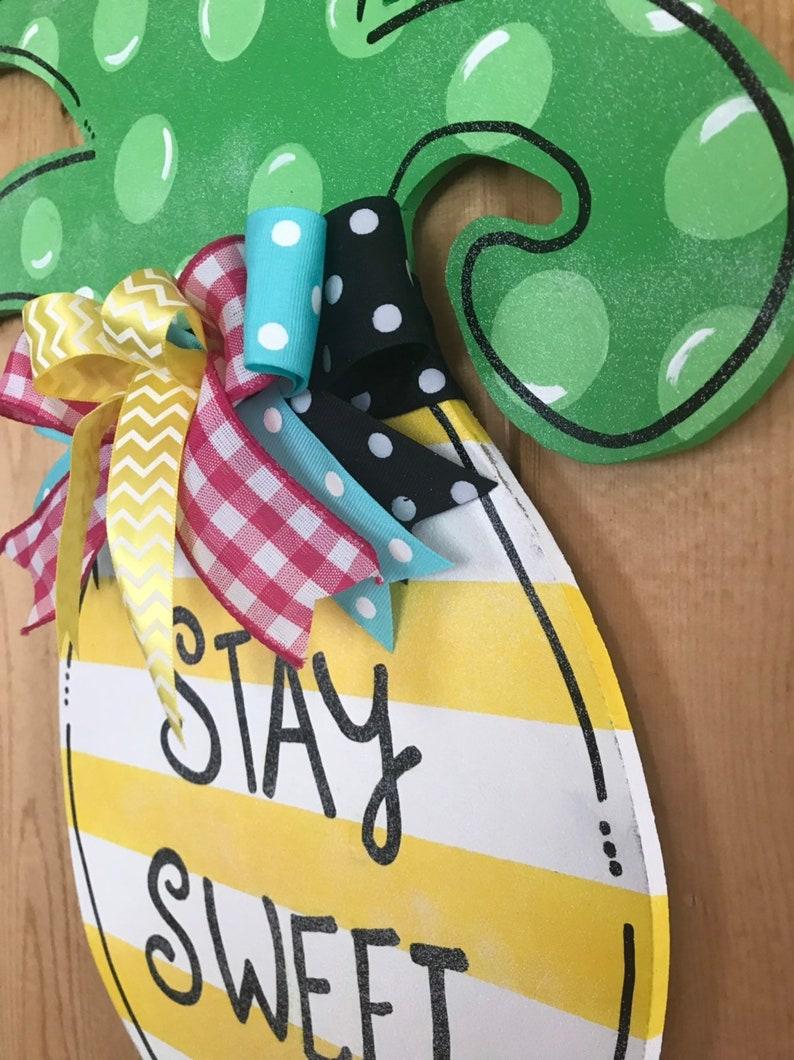 Colorful door hanger Summer door hanger custom door hanger wooden door hanger Sweet door hanger Summer wreath Pineapple door hanger