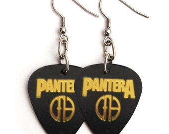Pantera Cowboys From Hell Guitar Pick Earrings Black and Gold Guitar Pics Dimebag Darrell Heavy Metal Guitar Pick Jewelry Southern Metal