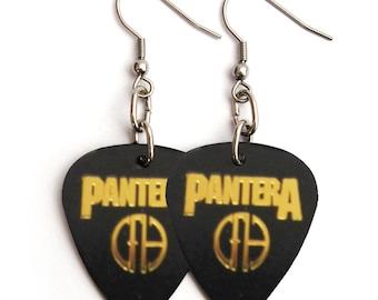 Pantera Band Cowboys From Hell Guitar Pick Earrings Black and Gold Pics Dimebag Darrell Heavy Metal Guitar Pick Jewelry Metalhead Rocker