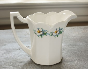 Vintage White McCoy Scalloped Edge Pitcher with Floral Embellishment