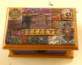 Handmade Polymer Clay Tile Mosaic Box Hinged Top