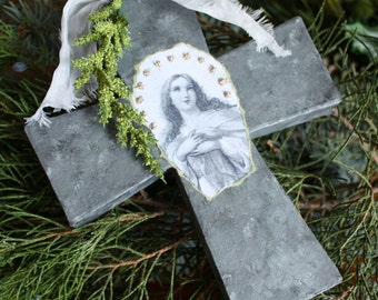 Large Cross  Ornament 1-Jeanne d'Arc Inspired Faux ZINC Madonna