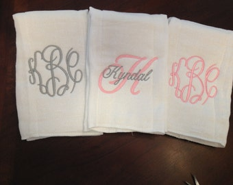 Monogrammed Burp Cloth Set of 3 for a girl