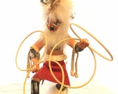 Hopi Kachina Doll, Hoop Dancer signed Largo. Painted wood with leather fur feathers shell