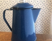 Old blue enamel speckle ware coffee pot. Cowboy coffee maker, percolator. Great vintage condition. Clear top to watch the fun