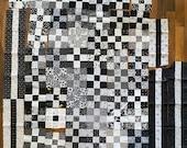 Black white 9patch quilt squares plus extra fabric, 5 inch squares