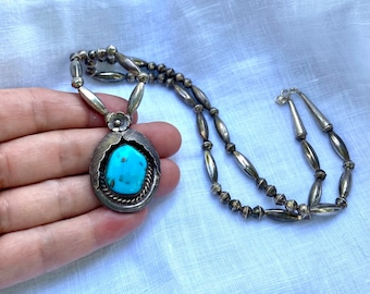 Vintage sterling silver bench beads with large turquoise pendant, Navajo Pearls, old pawn, tribal boho