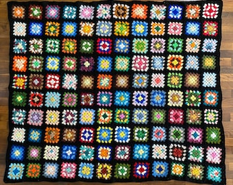 """Vintage Granny square blanket throw. 60"""" x 78"""", bright colors, warm comfy homemade Afghan, multicolored with black borders. heavy weight"""