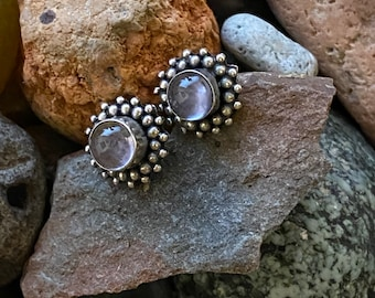Vintage sterling silver moonstone stud earrings,  bezel set with cluster of tiny silver bead dots, ethereal mesmerizing celestial beauties