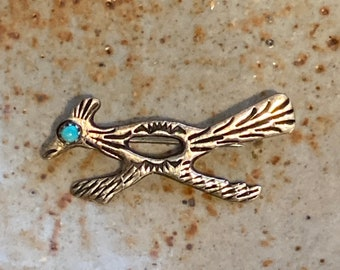 Vintage Harvey Era Sterling Silver Roadrunner Brooch with Turquoise Eye, Sand Cast and Hand Made Native American 60's Jewelry