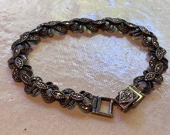 Vintage sterling silver and marcasite link bracelet, sparkly!, elegant