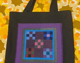Vintage handmade quilted patchwork Tote Bag, black, purple, market tote, knitting bag, book bag, work bag, lunch bag, craft bag, purse