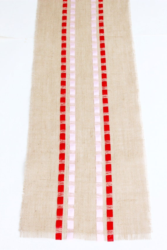 New Rustic Table Runner Every Day Table Decoration Burlap Runner Adorned with Ribbons Christmas Table Runner
