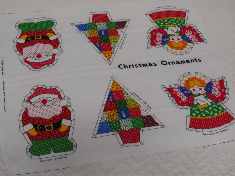 Vintage Christmas Fabric Panel Retro Calicos 6 Appliques or 3 Ornaments ~ Sew Yourself: