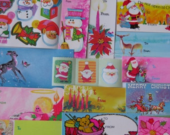 Pretty 70's 80's Vintage Christmas Gift Tag and Seal Collection ~ Pastel Pinks & Blues ~