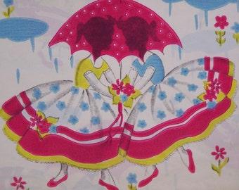 Vintage 50's Package Dennison Gift Wrap Spring Shower 2 Sheets
