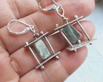 Ancient roman blue glass chunks in Sterling silver cage earrings