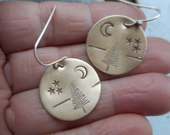 Tree, moon, and stars round brass stamped earrings