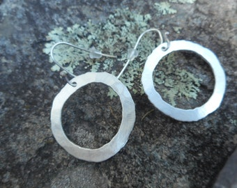 Fused hammered fine silver basic go with everything hoop earrings