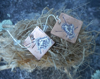 Distressed fused fine silver and copper square earrings