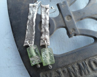 Seafoam green ancient Roman glass and distressed reticulation sterling earrings