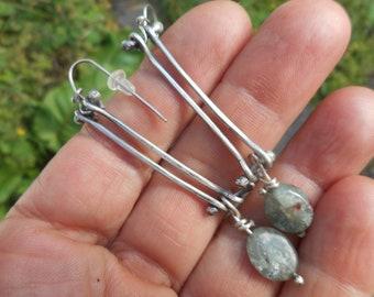 Long sterling silver columnar earrings with kyanite dangle drops