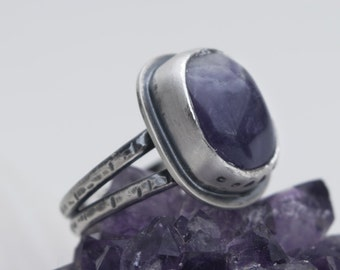 Amethyst Ring | Sterling Silver Ring Size 8 | Chevron Amethyst Ring | Mermaid Ring | Mermaid Jewelry