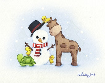 """Holiday Greeting Cards set - 15pk 4x6"""" - Snow Day  - with envelopes - blank inside"""