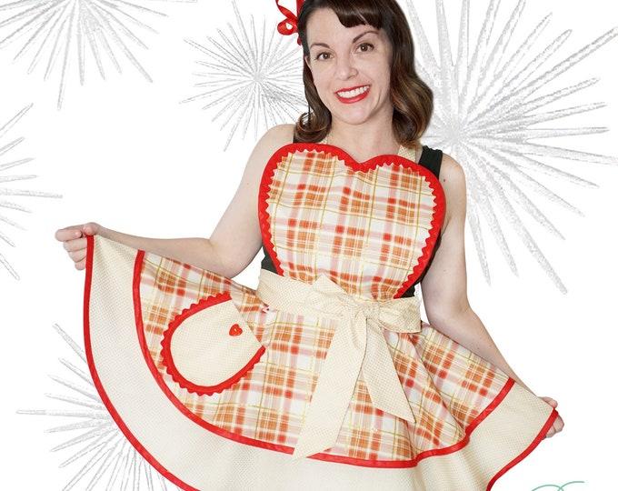 Sewmammasew apron/Pinup Apron/Xmas apron/Pinup xmas apron/ Women's Apron/Retro Apron/Retro style apron/Handmade apron/Red gold plaid apron