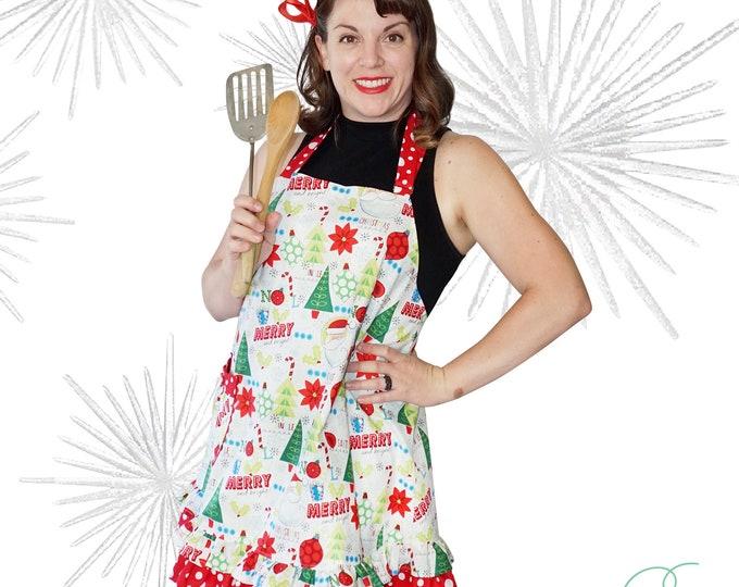 Xmas apron /Women's Apron /Retro Apron /Full xmas apron /one piece apron SewMammaSew apron /Xmas apron with matching girls apron /Handmade