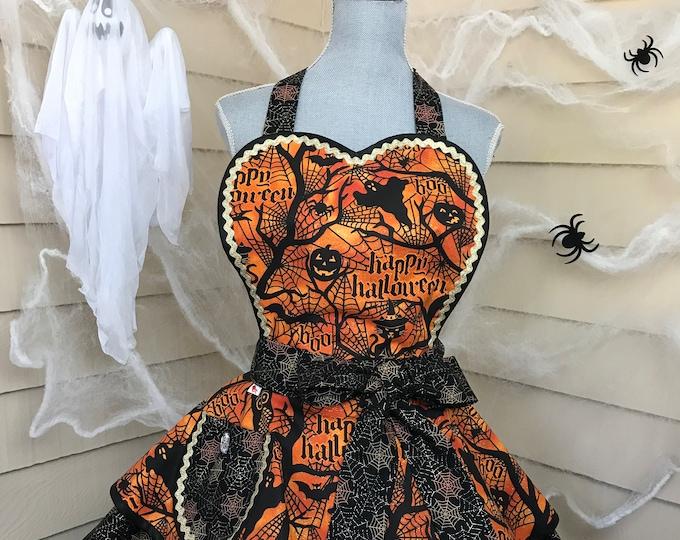 Glitzy Halloween Apron Pumpkins Bats and Ghosts Apron Pinup Halloween Apron Retro Halloween Apron SewMammaSew Apron for Halloween  Apron