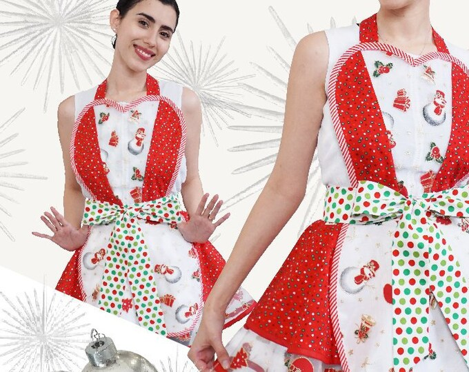 Christmas  Apron Apron for Christmas Retro Christmas Apron Womens Apron Pinup Apron Pinup Christmas Apron SewMammaSew Apron  Two Tiered