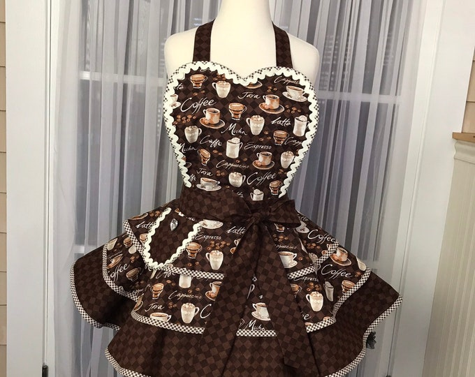 Coffee apron Coffee print apron SewMammaSew apron Pinup apron Pinup coffee print apron Hostess Apron Three tiered apron Women's Apron