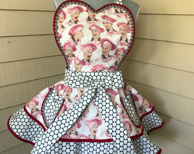 Retro Apron I Love Lucy Apron Chocolate Factory Womens Apron Pinup Apron Rare  Two Tiered Apron I Love Lucy Gift