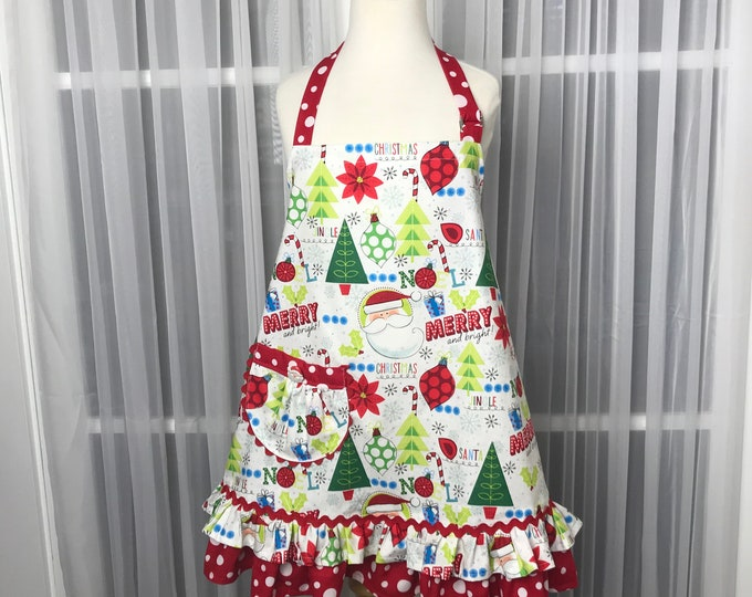 Childs Xmas apron /Handmade apron / Xmas apron /Child's Full Apron /Christmas apron /Xmas apron for girls /Xmas print/Mommy and me aprons
