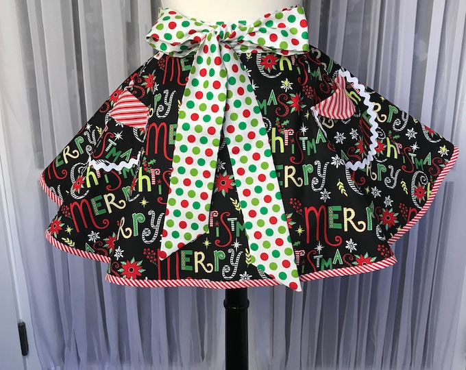 Merry Christmas apron SewMammaSew apron Gift apron Half apron Christmas half apron Womens apron Apron for Christmas Handmade apron Apron