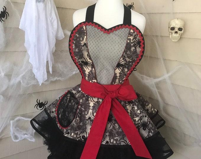 Halloween apron /Women's Apron /Pinup Apron /Sexy Halloween Apron /Retro Apron /Halloween Sexy Apron /Gift Apron /