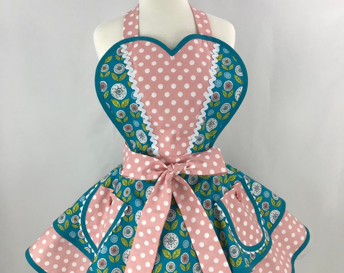 Retro Apron/Floral and Polka Dots Retro Apron/Women's Vintage Style Apron/Two Tiered Retro Apron/Pinup Floral and Polka Dotted Apron
