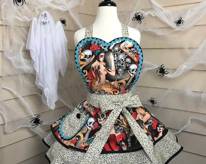 Halloween Pinup Apron Day of the Dead  Pinup Day of the Dead Apron Halloween Apron SewMammaSew Apron Womens Apron Costume Apron Halloween