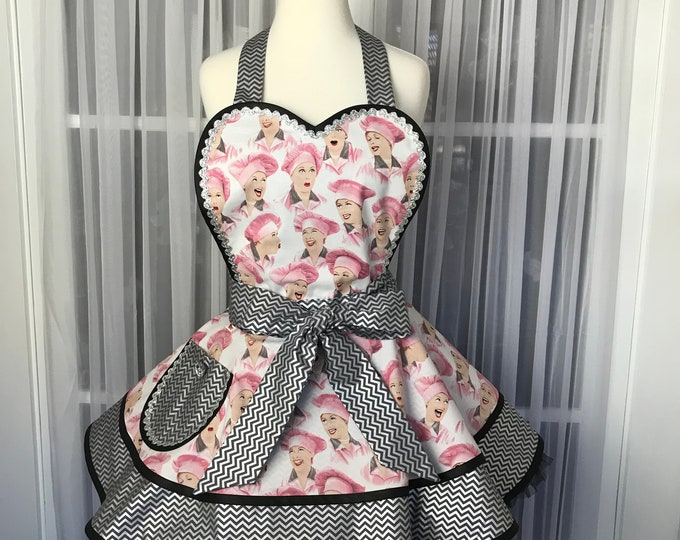 I Love Lucy apron Lucy apron Rare Lucy apron Retro Lucy apron Handmade Lucy apron SewMammaSew apron Out of print Lucy apron Gift apron Women